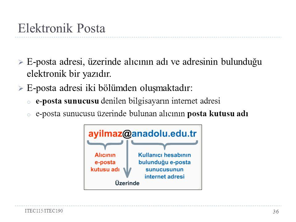 Elektronik Posta E-posta adresi, üzerinde alıcının adı ve adresinin bulunduğu elektronik bir yazıdır.
