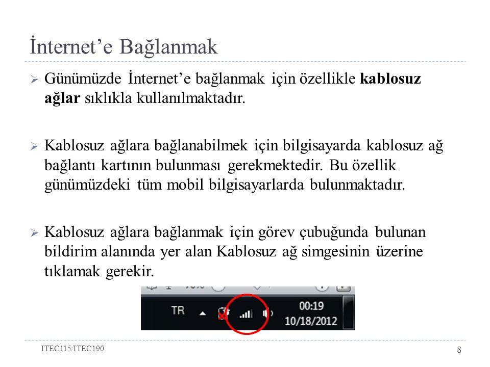 İnternet'e Bağlanmak Günümüzde İnternet'e bağlanmak için özellikle kablosuz ağlar sıklıkla kullanılmaktadır.