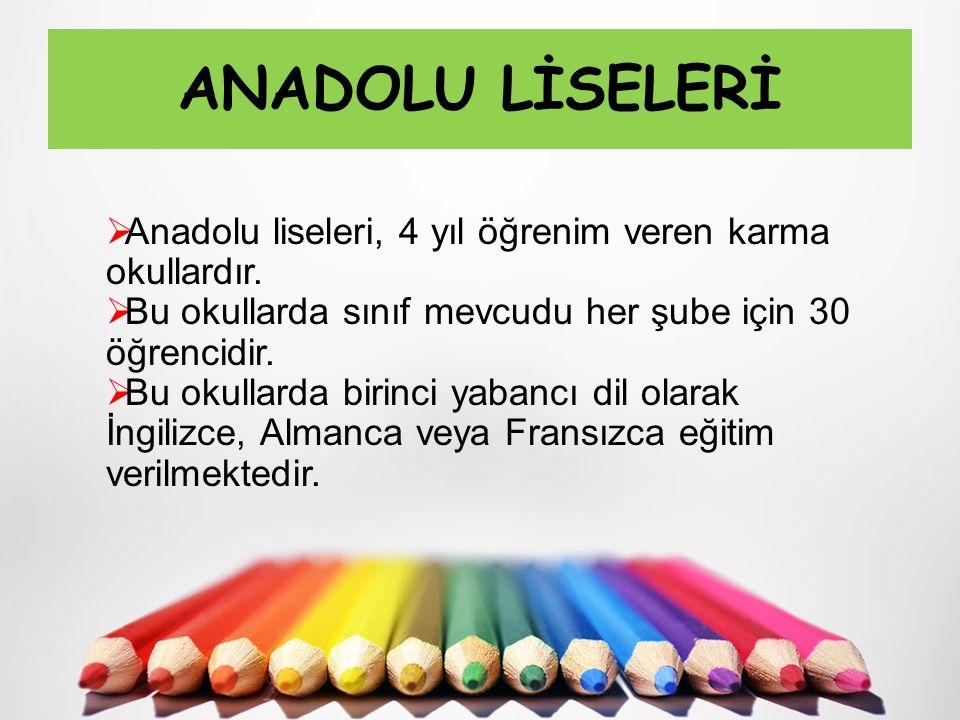 ANADOLU LİSELERİ Anadolu liseleri, 4 yıl öğrenim veren karma okullardır. Bu okullarda sınıf mevcudu her şube için 30 öğrencidir.