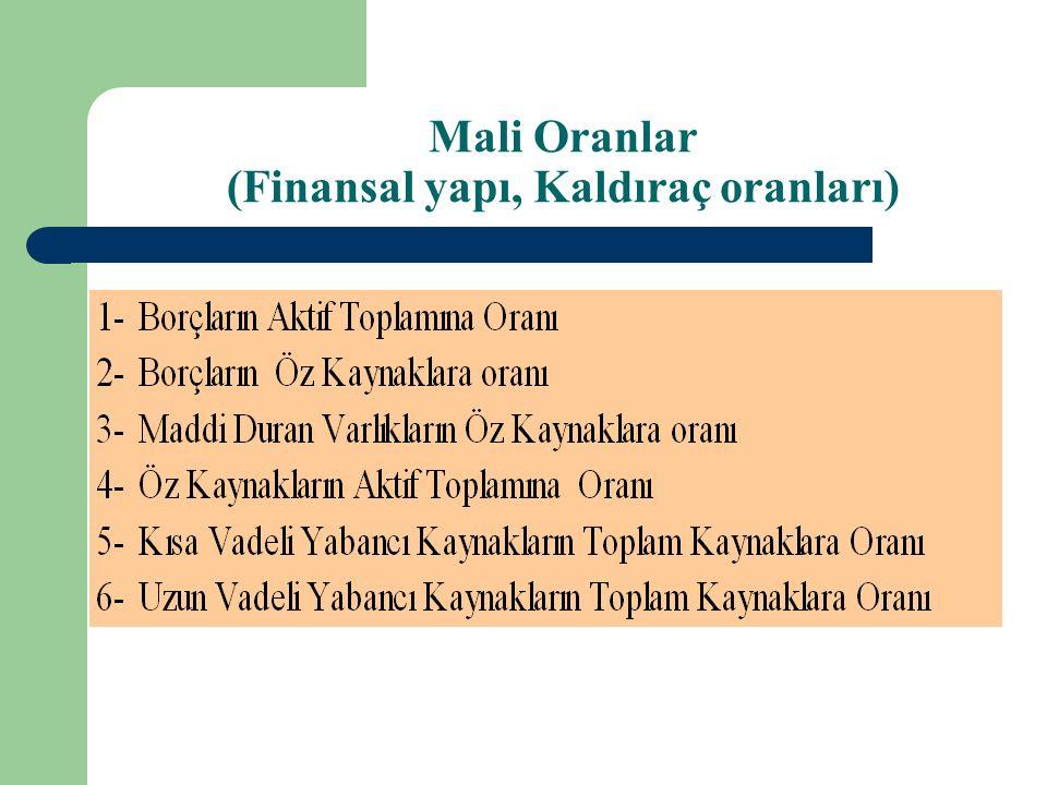 Mali Oranlar (Finansal yapı, Kaldıraç oranları)