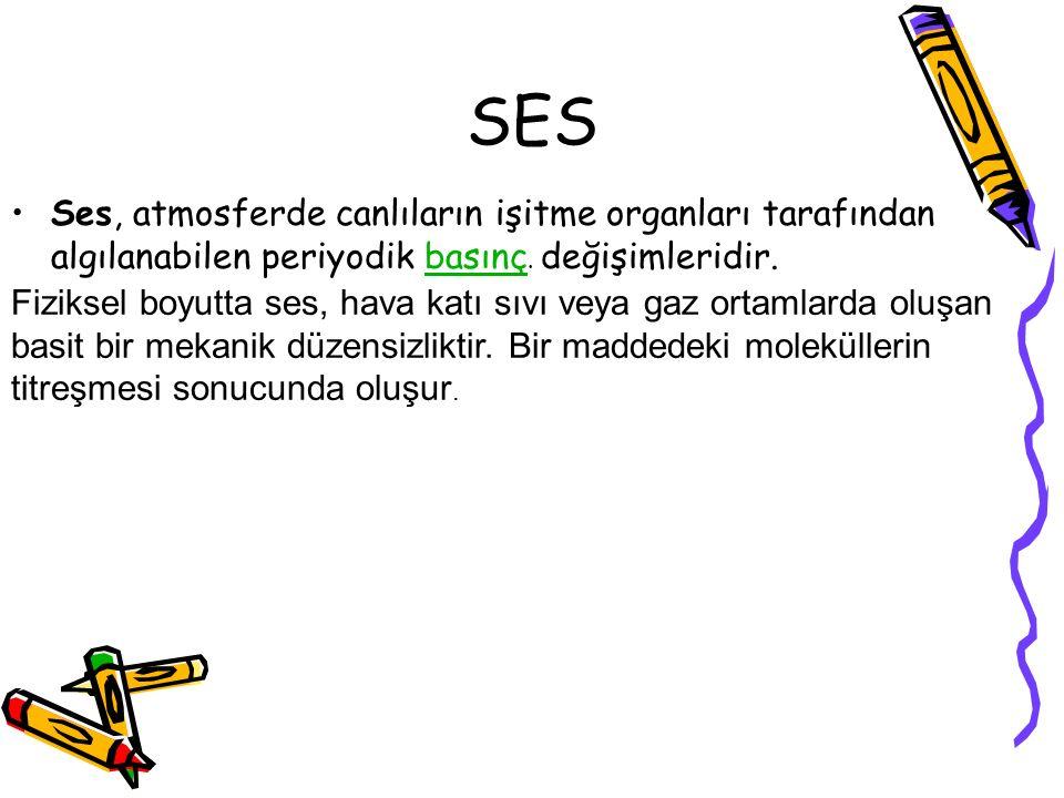 SES Ses, atmosferde canlıların işitme organları tarafından algılanabilen periyodik basınç. değişimleridir.