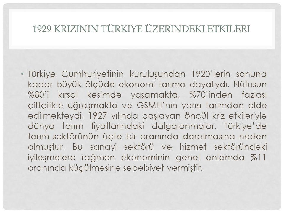 1929 krizinin türkiye üzerindeki etkileri