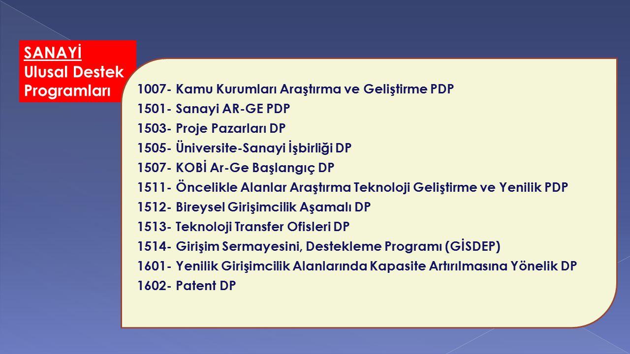 SANAYİ Ulusal Destek Programları