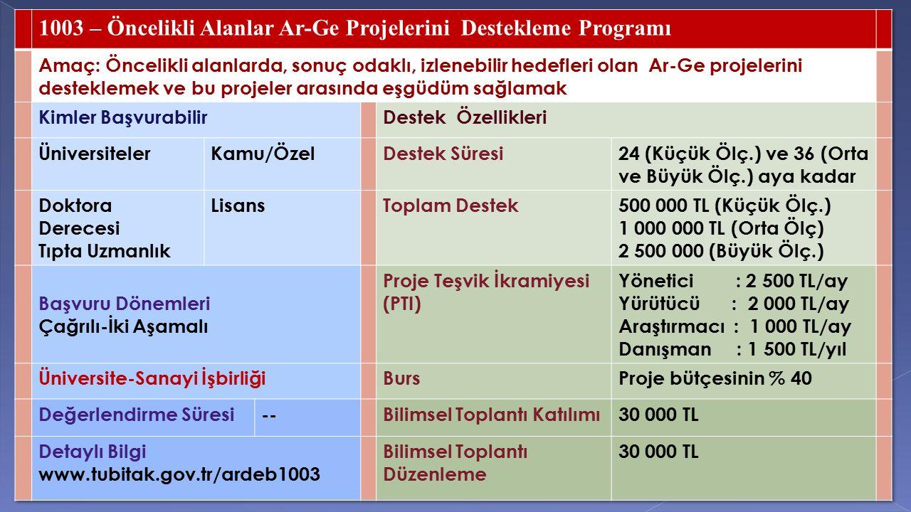 1003 – Öncelikli Alanlar Ar-Ge Projelerini Destekleme Programı