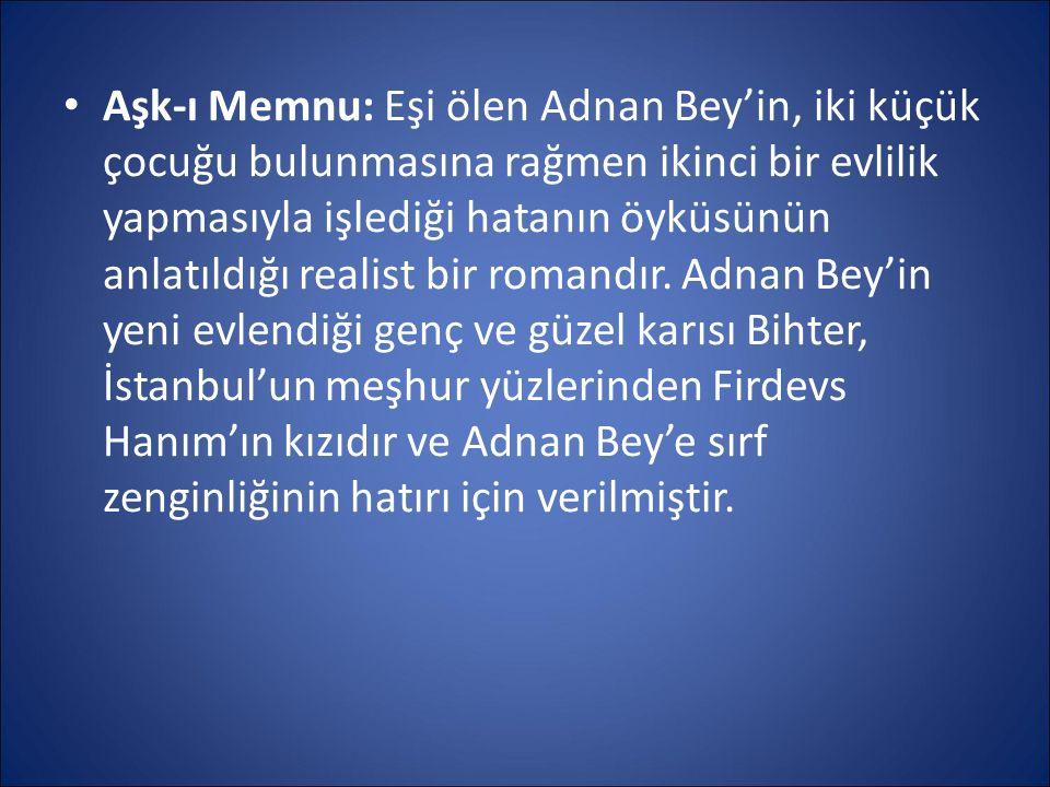Aşk-ı Memnu: Eşi ölen Adnan Bey'in, iki küçük çocuğu bulunmasına rağmen ikinci bir evlilik yapmasıyla işlediği hatanın öyküsünün anlatıldığı realist bir romandır.