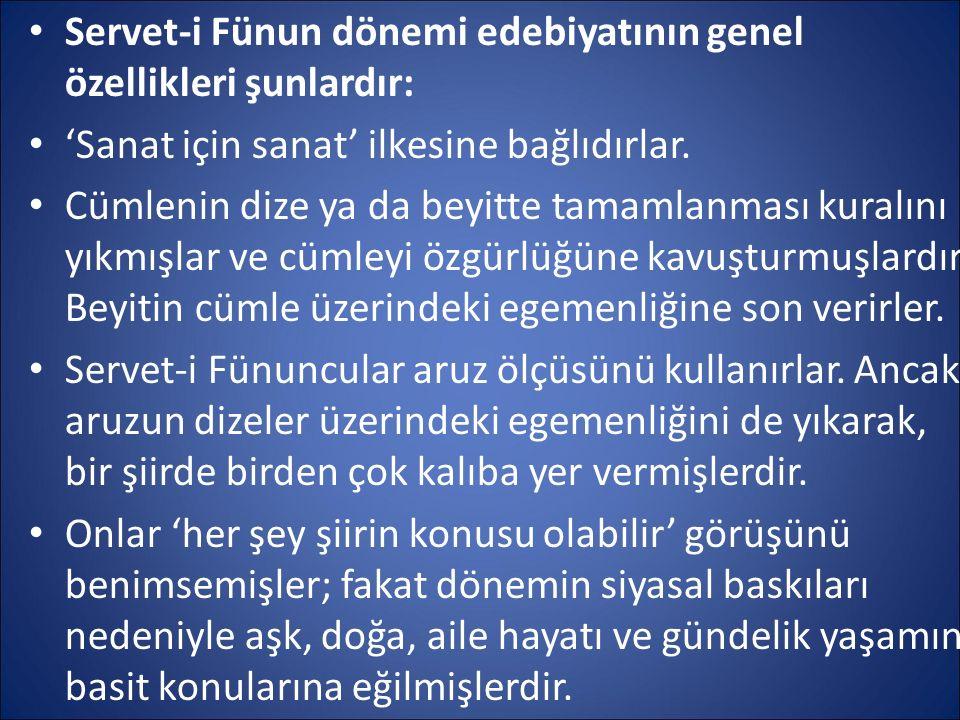 Servet-i Fünun dönemi edebiyatının genel özellikleri şunlardır: