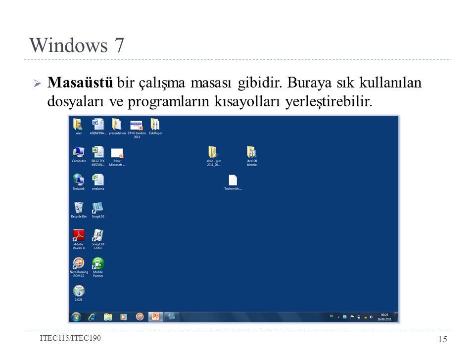Windows 7 Masaüstü bir çalışma masası gibidir. Buraya sık kullanılan dosyaları ve programların kısayolları yerleştirebilir.