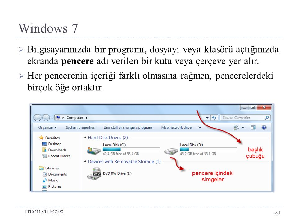 Windows 7 Bilgisayarınızda bir programı, dosyayı veya klasörü açtığınızda ekranda pencere adı verilen bir kutu veya çerçeve yer alır.