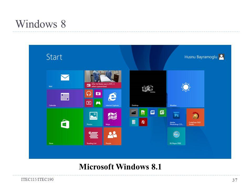 Windows 8 Microsoft Windows 8.1 ITEC115/ITEC190