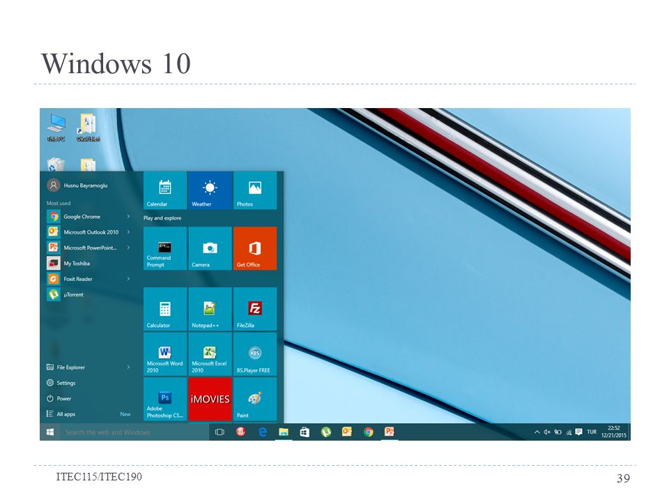 Windows 10 ITEC115/ITEC190