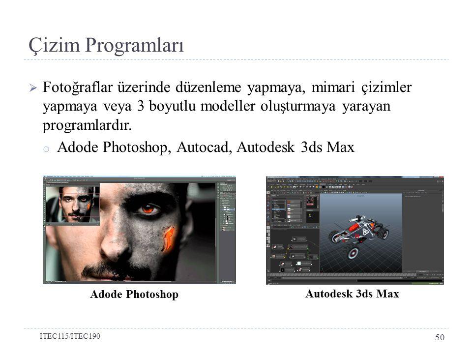 Çizim Programları Fotoğraflar üzerinde düzenleme yapmaya, mimari çizimler yapmaya veya 3 boyutlu modeller oluşturmaya yarayan programlardır.
