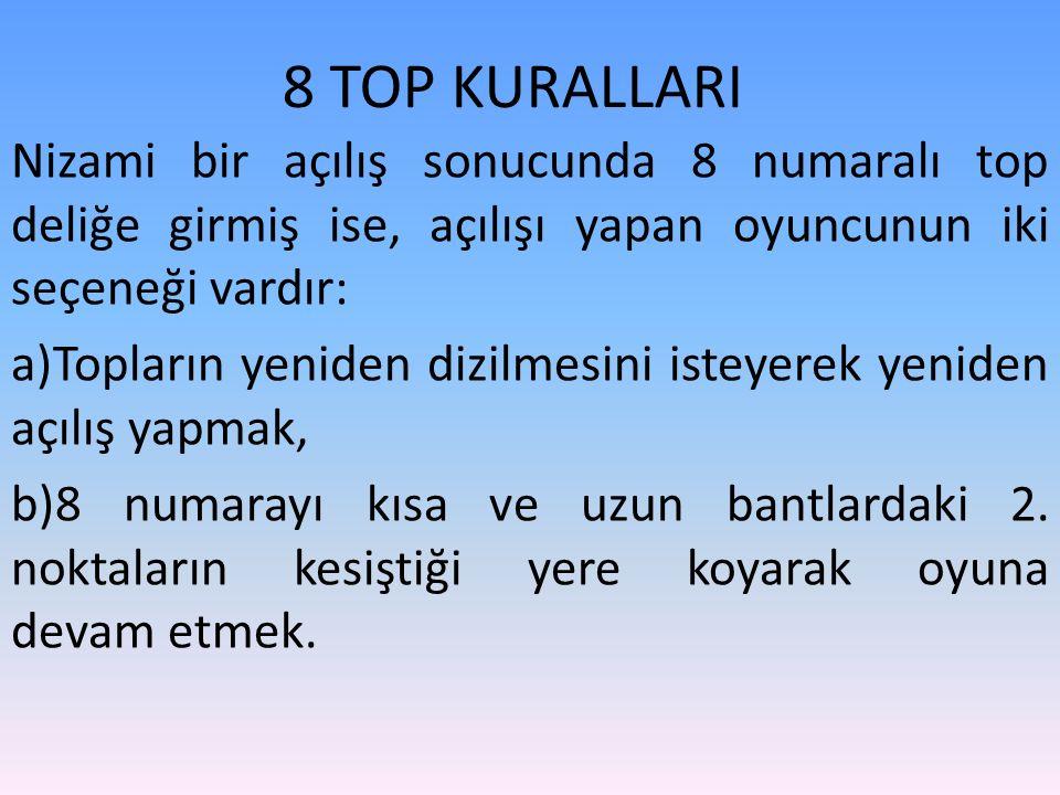 8 TOP KURALLARI Nizami bir açılış sonucunda 8 numaralı top deliğe girmiş ise, açılışı yapan oyuncunun iki seçeneği vardır: