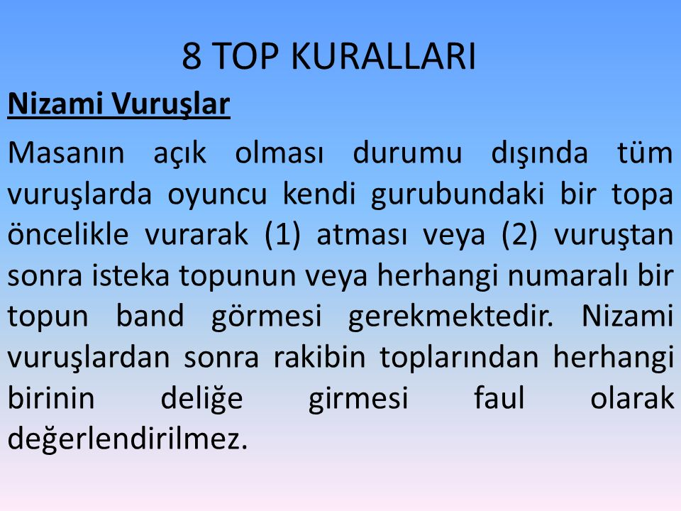 8 TOP KURALLARI Nizami Vuruşlar