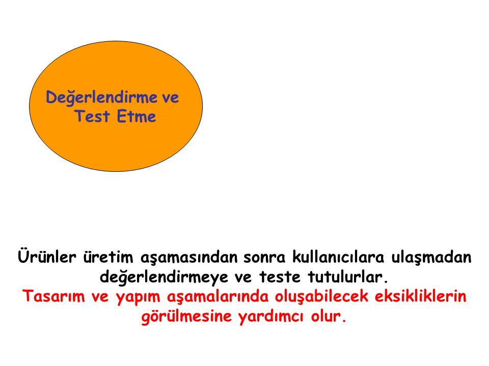 Değerlendirme ve Test Etme. Ürünler üretim aşamasından sonra kullanıcılara ulaşmadan değerlendirmeye ve teste tutulurlar.