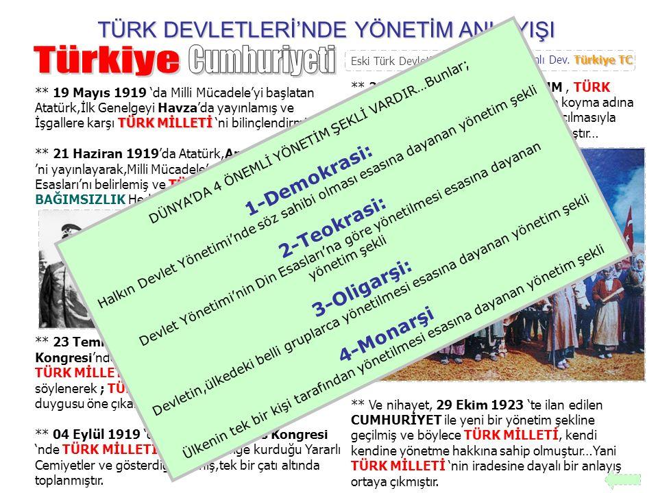 Türkiye Cumhuriyeti TÜRK DEVLETLERİ'NDE YÖNETİM ANLAYIŞI