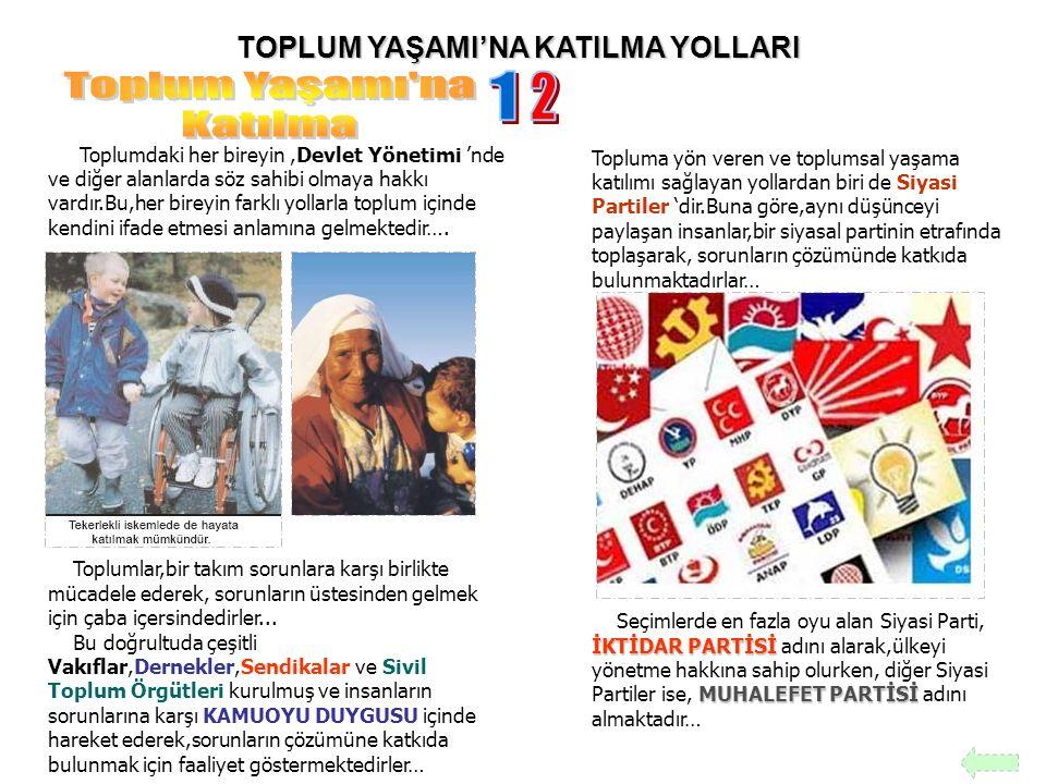 TOPLUM YAŞAMI'NA KATILMA YOLLARI