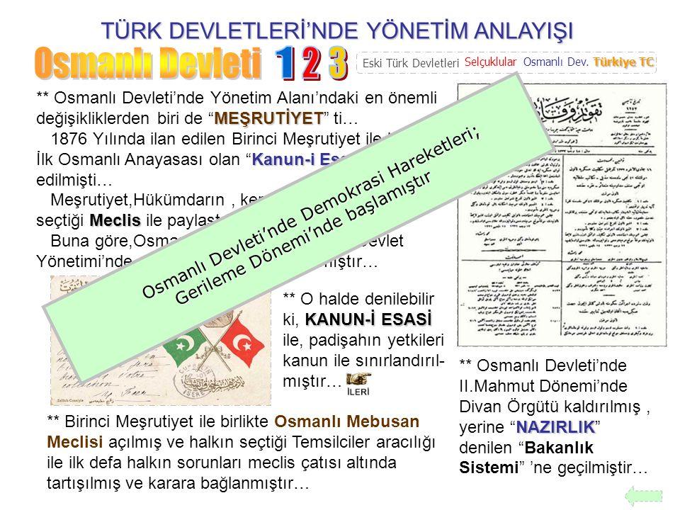Osmanlı Devleti 1 2 3 TÜRK DEVLETLERİ'NDE YÖNETİM ANLAYIŞI