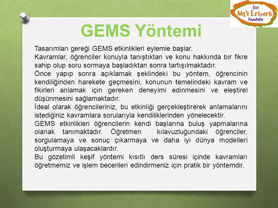 GEMS Yöntemi Tasarımları gereği GEMS etkinlikleri eylemle başlar.