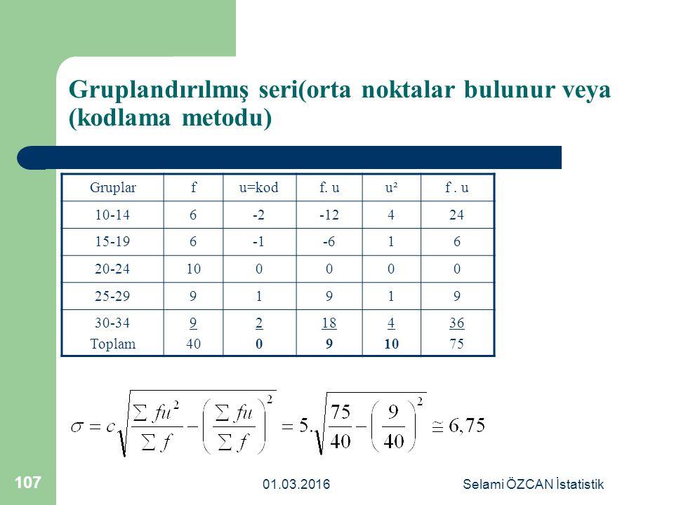 Gruplandırılmış seri(orta noktalar bulunur veya (kodlama metodu)