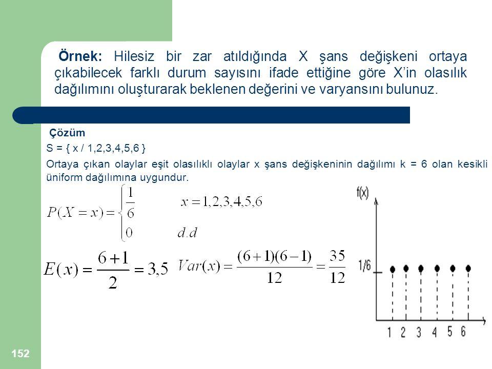 Örnek: Hilesiz bir zar atıldığında X şans değişkeni ortaya çıkabilecek farklı durum sayısını ifade ettiğine göre X'in olasılık dağılımını oluşturarak beklenen değerini ve varyansını bulunuz.