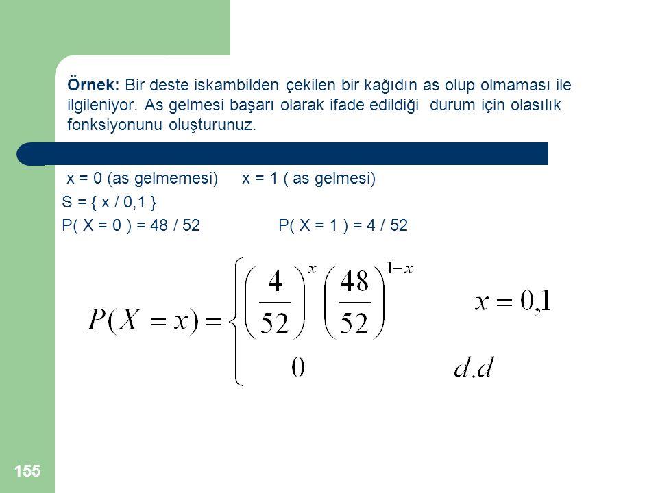 Örnek: Bir deste iskambilden çekilen bir kağıdın as olup olmaması ile ilgileniyor. As gelmesi başarı olarak ifade edildiği durum için olasılık fonksiyonunu oluşturunuz.