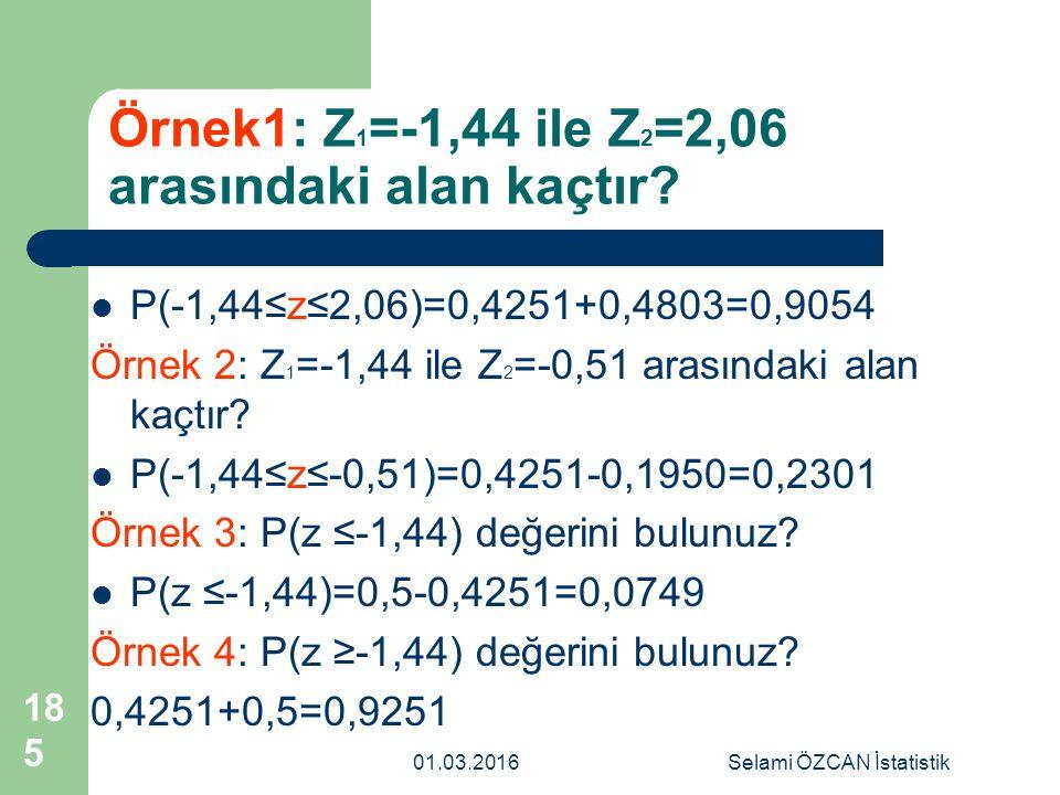 Örnek1: Z1=-1,44 ile Z2=2,06 arasındaki alan kaçtır