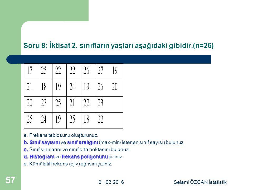 Soru 8: İktisat 2. sınıfların yaşları aşağıdaki gibidir.(n=26)