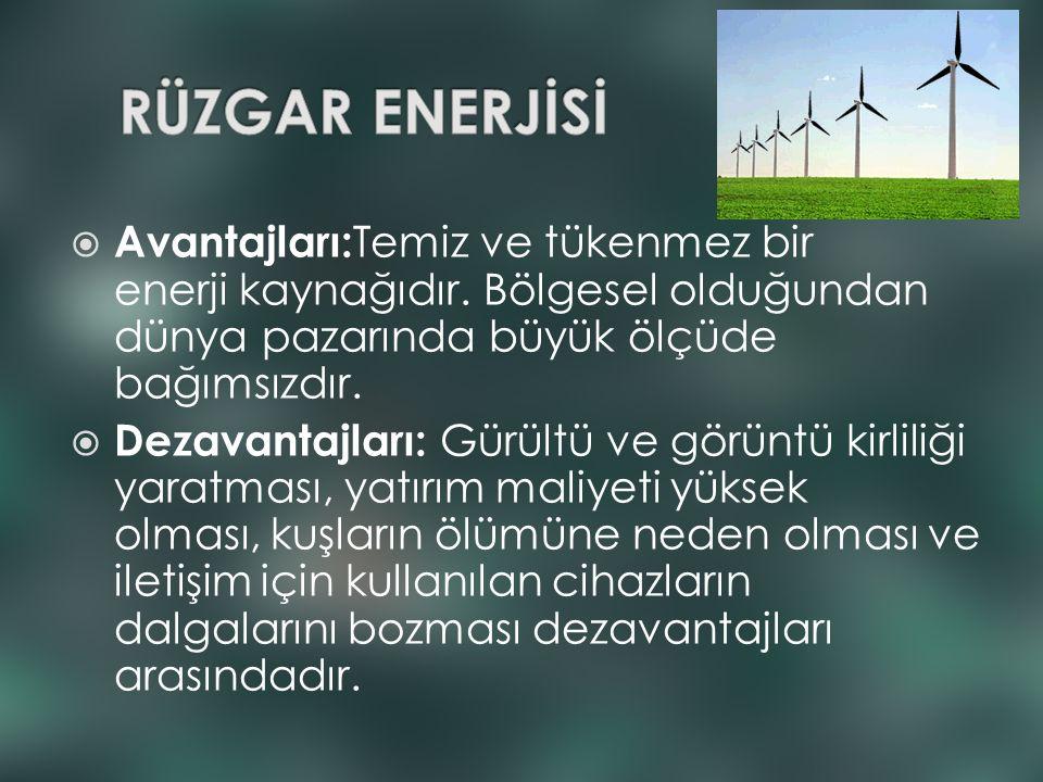 RÜZGAR ENERJİSİ Avantajları:Temiz ve tükenmez bir enerji kaynağıdır. Bölgesel olduğundan dünya pazarında büyük ölçüde bağımsızdır.