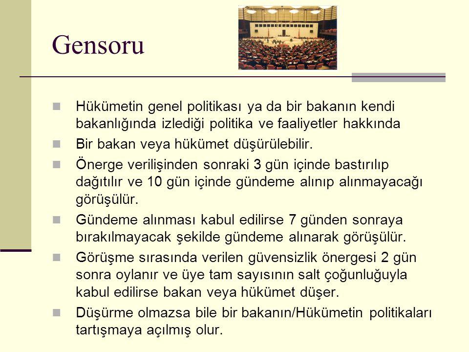 Gensoru Hükümetin genel politikası ya da bir bakanın kendi bakanlığında izlediği politika ve faaliyetler hakkında.