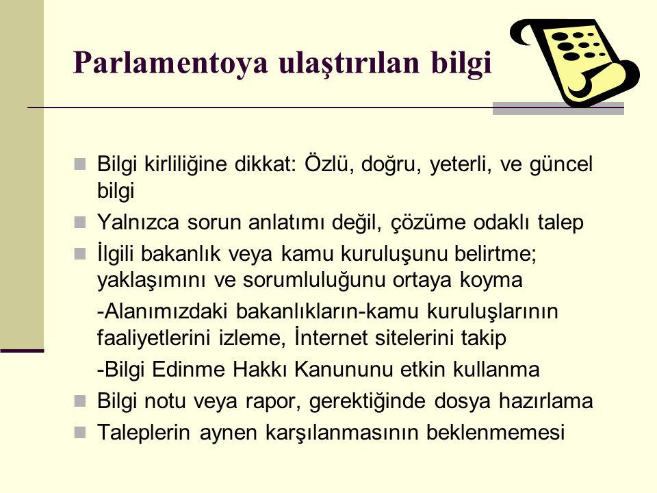 Parlamentoya ulaştırılan bilgi