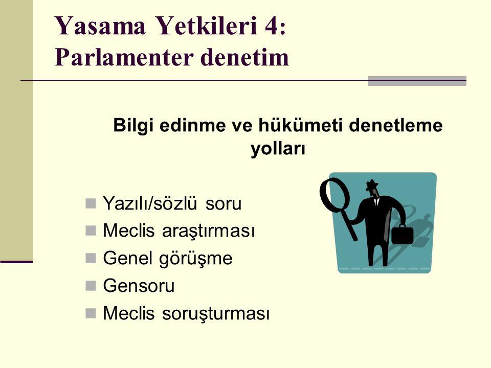 Yasama Yetkileri 4: Parlamenter denetim