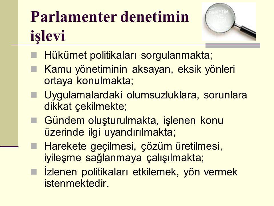 Parlamenter denetimin işlevi