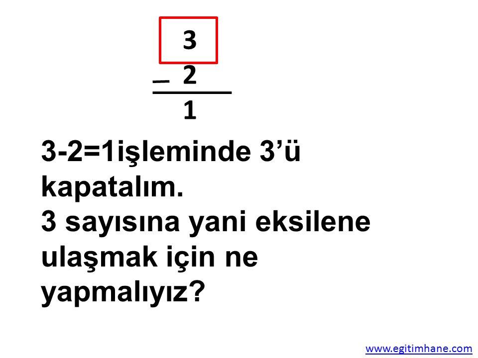 3-2=1işleminde 3'ü kapatalım.