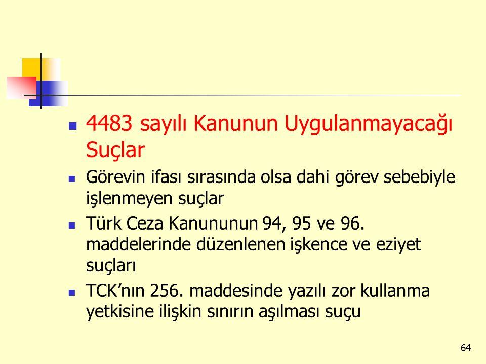 4483 sayılı Kanunun Uygulanmayacağı Suçlar
