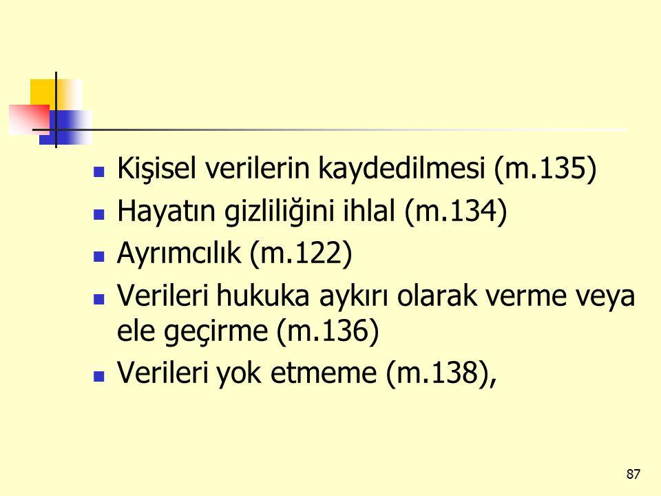 Kişisel verilerin kaydedilmesi (m.135)