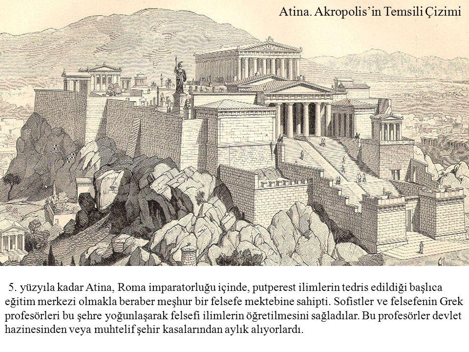 Atina. Akropolis'in Temsili Çizimi