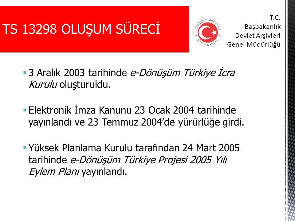 TS 13298 OLUŞUM SÜRECİ T.C. Başbakanlık. Devlet Arşivleri. Genel Müdürlüğü. 3 Aralık 2003 tarihinde e-Dönüşüm Türkiye İcra Kurulu oluşturuldu.