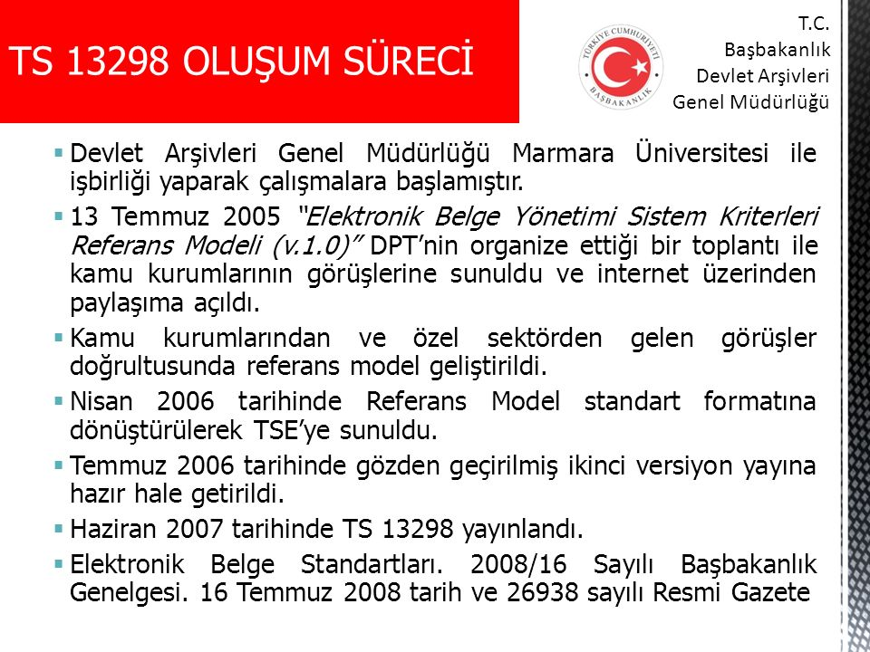 TS 13298 OLUŞUM SÜRECİ T.C. Başbakanlık. Devlet Arşivleri. Genel Müdürlüğü.