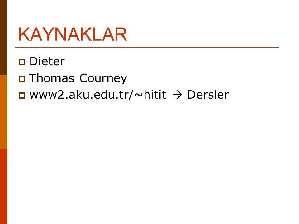 KAYNAKLAR Dieter Thomas Courney www2.aku.edu.tr/~hitit  Dersler