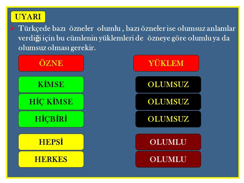 Türkçede bazı özneler olumlu , bazı özneler ise olumsuz anlamlar verdiği için bu cümlenin yüklemleri de özneye göre olumlu ya da olumsuz olması gerekir.