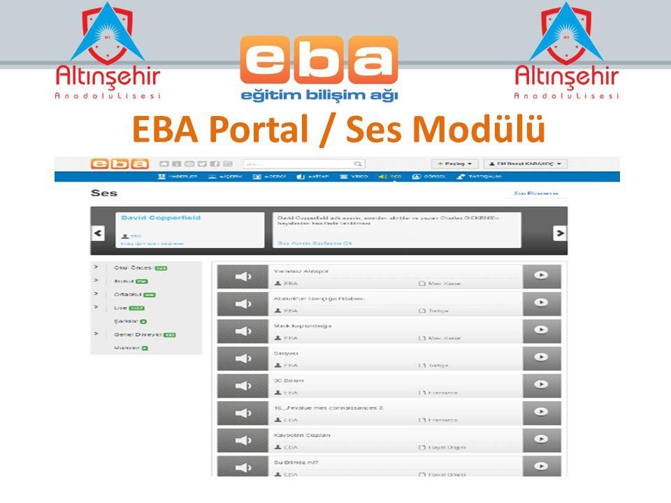 EBA Portal / Ses Modülü Kitaplara Ait sesler- Sesli Kitaplar