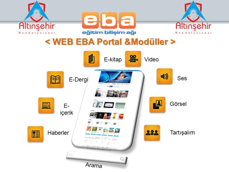 < WEB EBA Portal &Modüller >