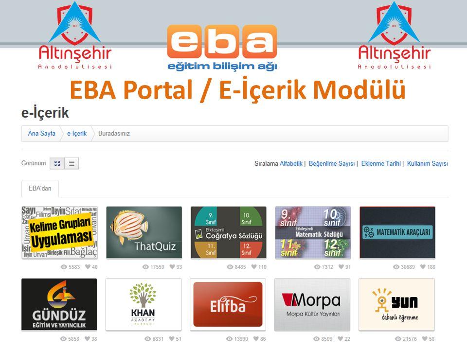 EBA Portal / E-İçerik Modülü