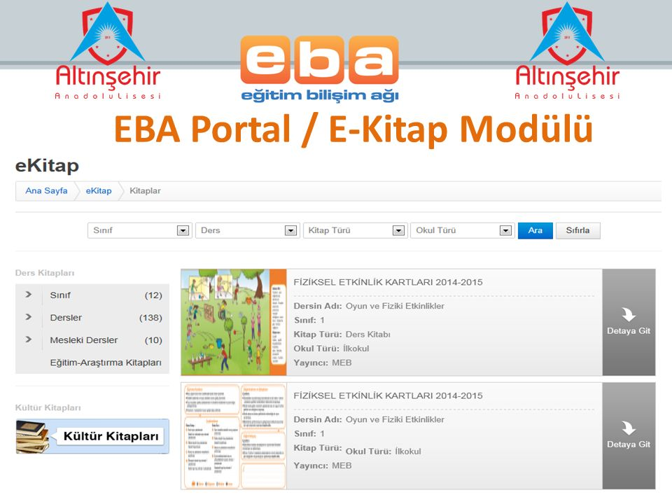 EBA Portal / E-Kitap Modülü