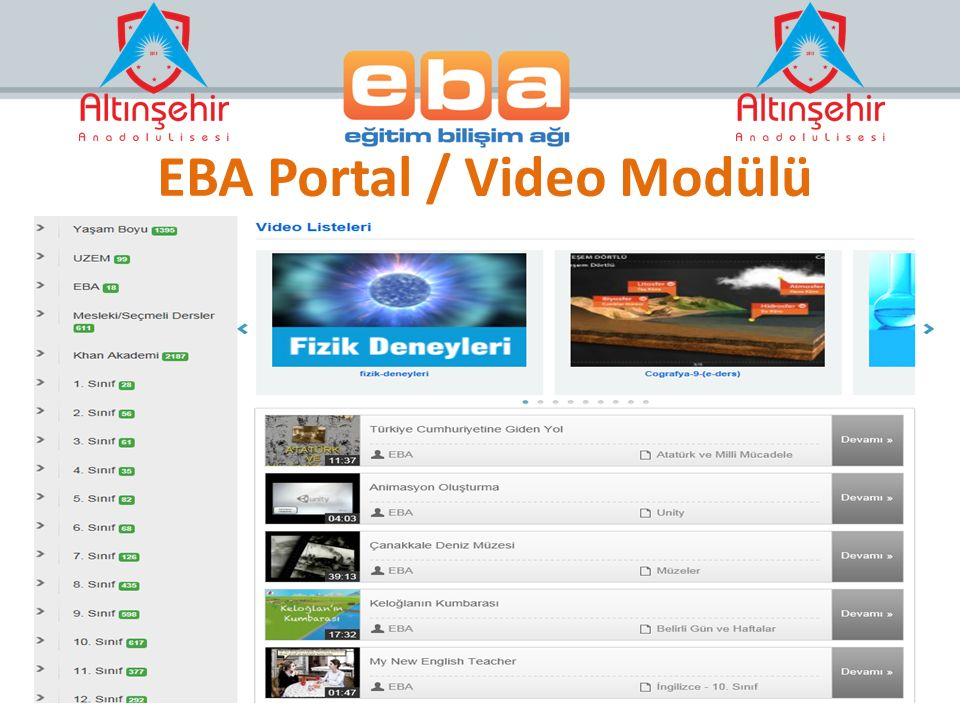 EBA Portal / Video Modülü
