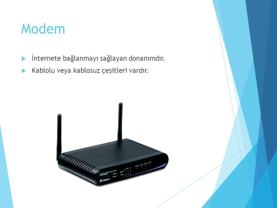 Modem İnternete bağlanmayı sağlayan donanımdır.