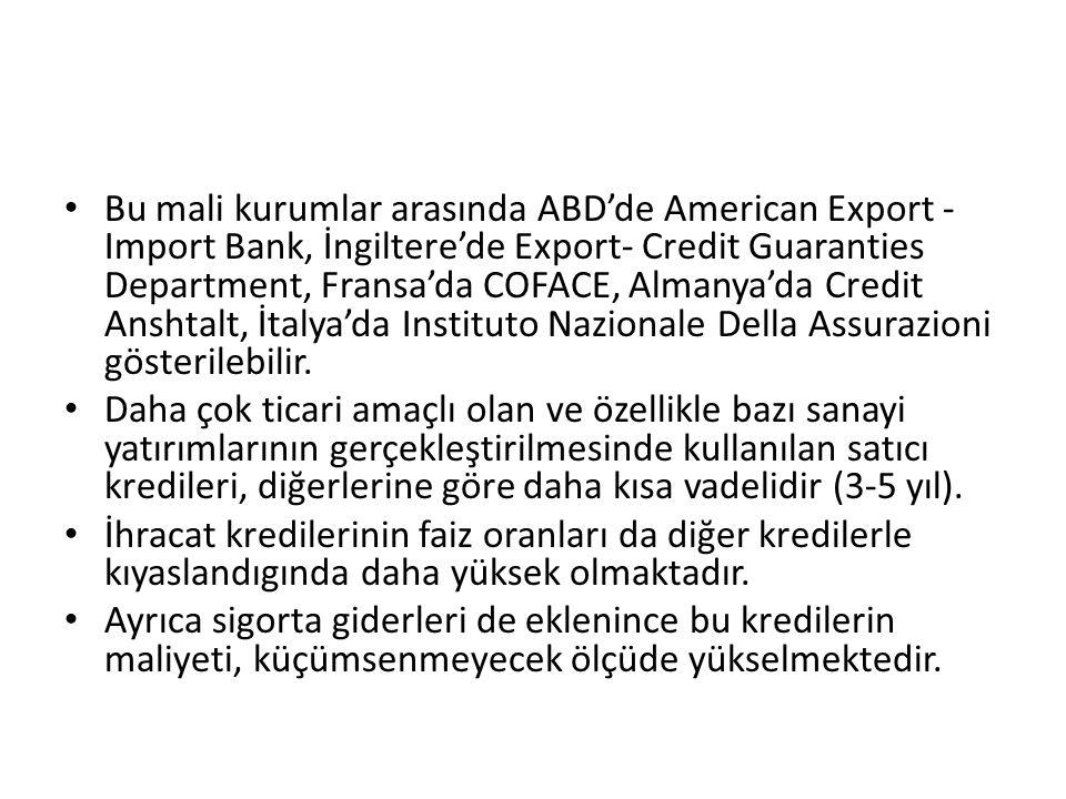Bu mali kurumlar arasında ABD'de American Export -Import Bank, İngiltere'de Export- Credit Guaranties Department, Fransa'da COFACE, Almanya'da Credit Anshtalt, İtalya'da Instituto Nazionale Della Assurazioni gösterilebilir.