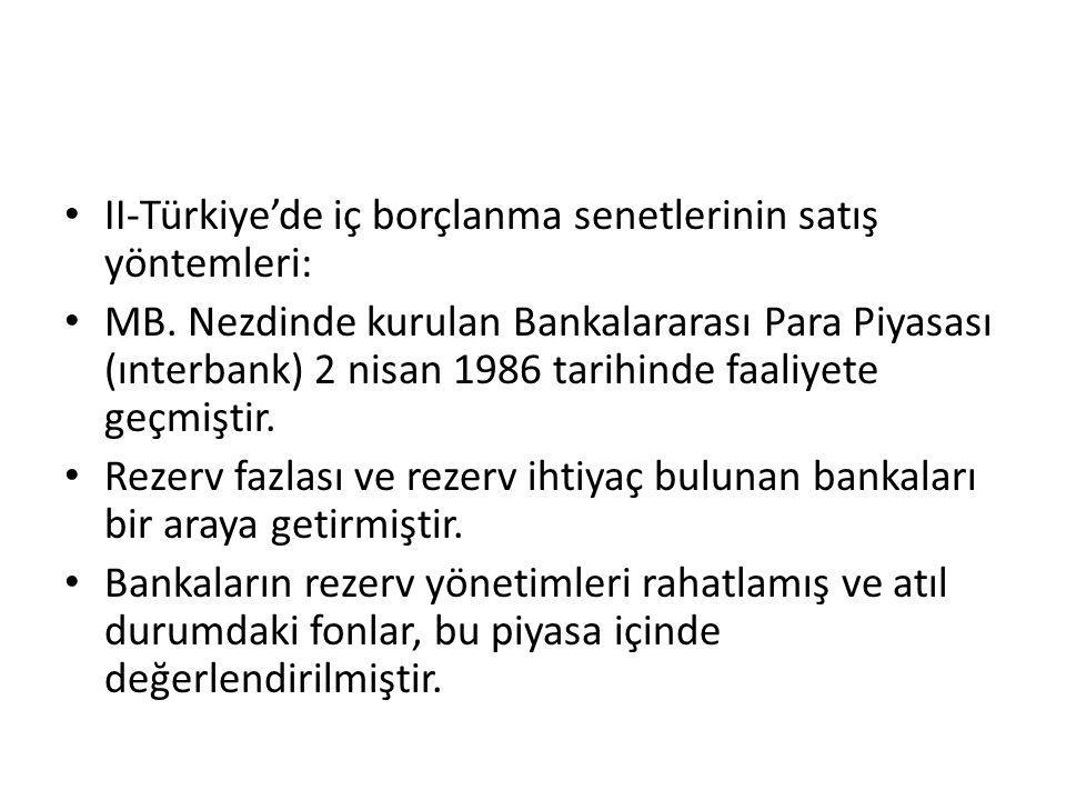II-Türkiye'de iç borçlanma senetlerinin satış yöntemleri: