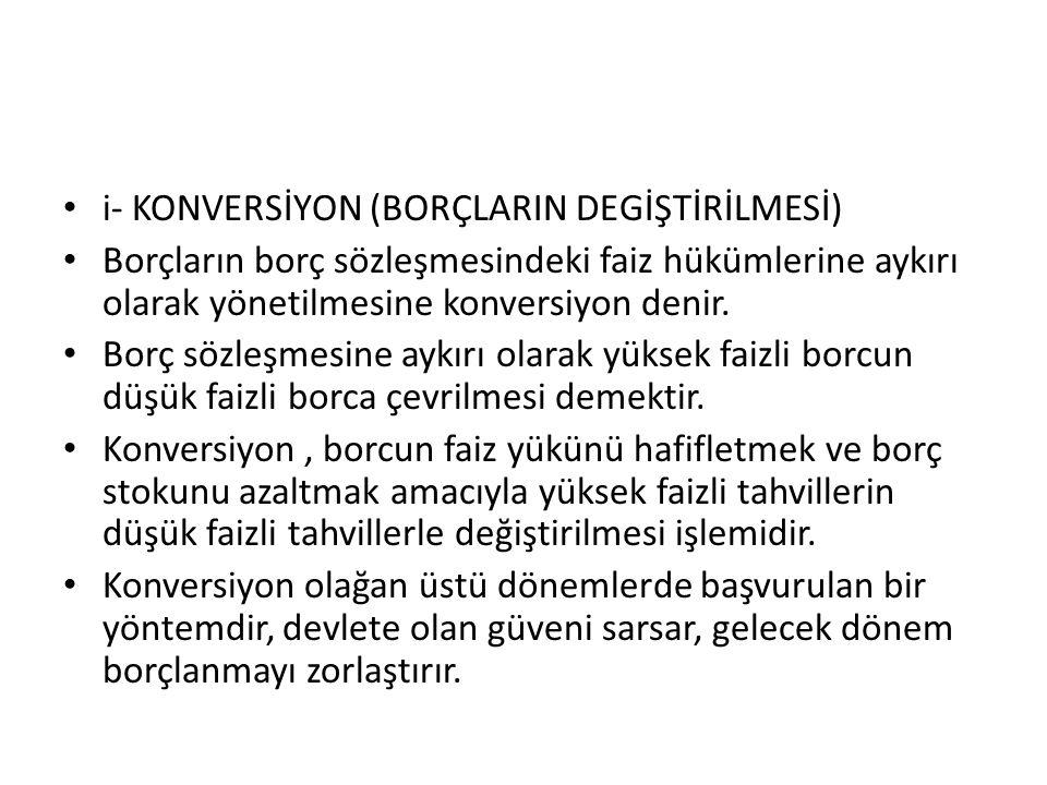 i- KONVERSİYON (BORÇLARIN DEGİŞTİRİLMESİ)