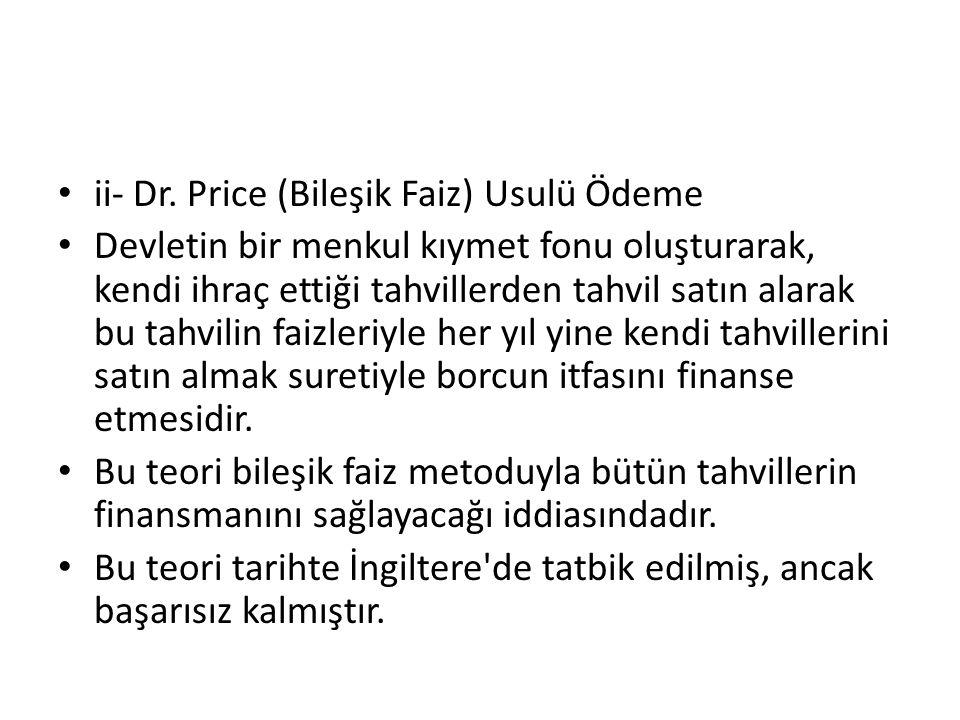 ii- Dr. Price (Bileşik Faiz) Usulü Ödeme